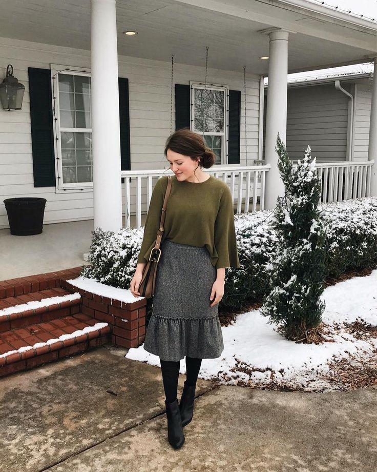 Church Outfit Ideas, Denim skirt, Pencil skirt