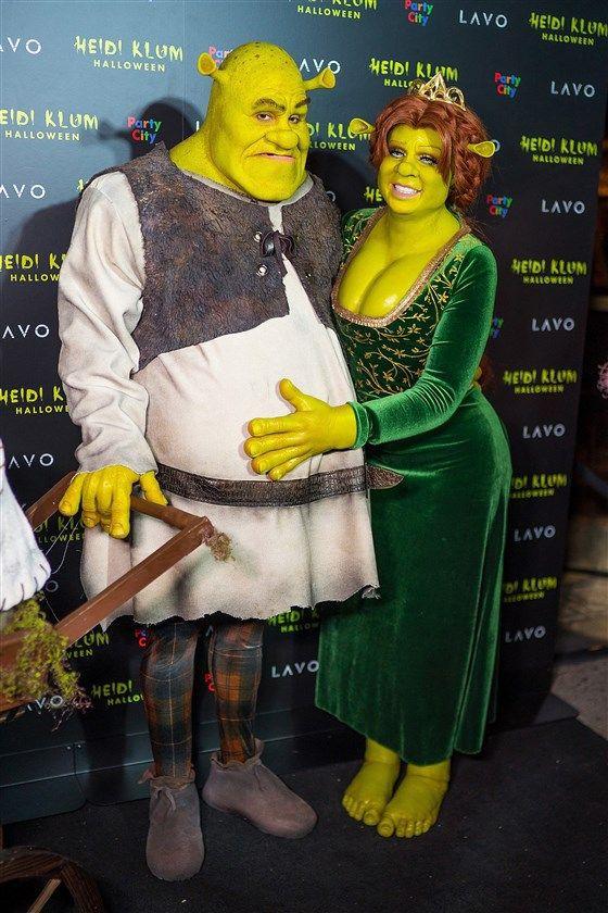 Heidi Klum as Princess Fiona and her boyfriend as Shrek