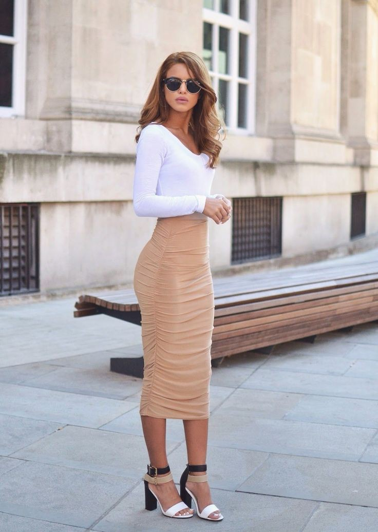 Long tight skirt outfits, Pencil skirt