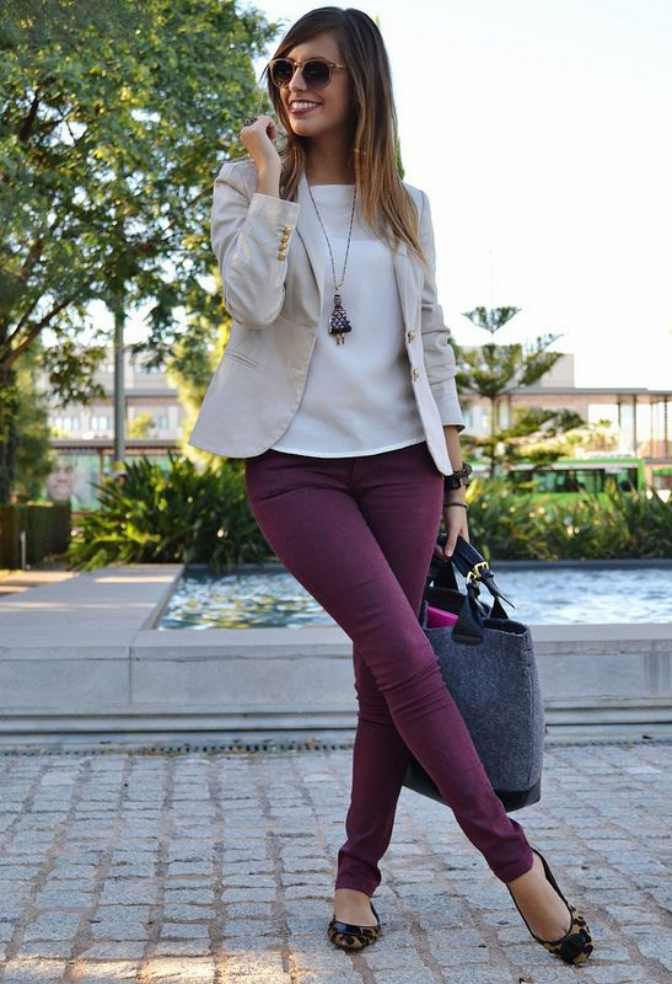 Burgundy pants casual office outfit