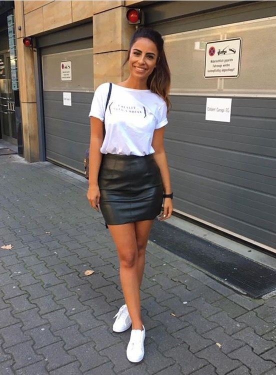 leather skirt and t shirt outfit cheap buy online