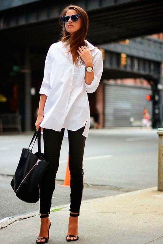 White dress shirt women outfit