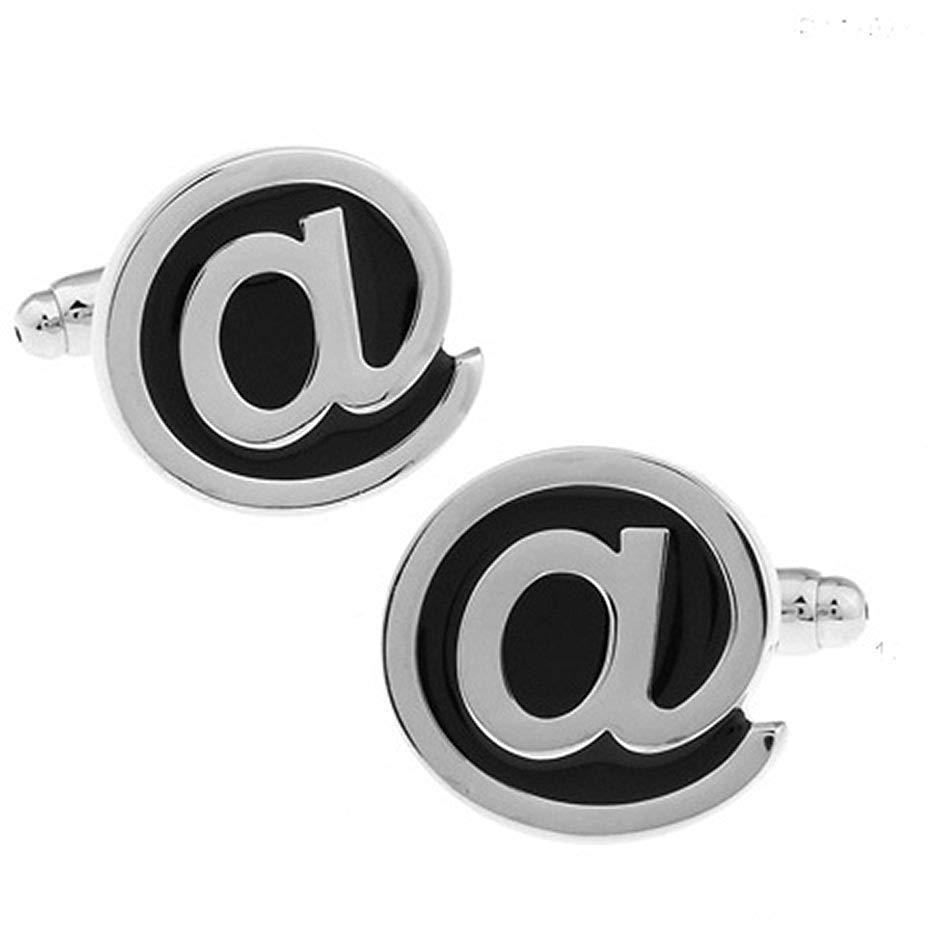 SILVER AND BLACK AT SYMBOL CUFFLINKS £15.99