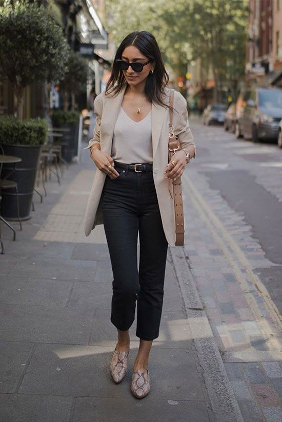 Snake print mules outfit, Business casual