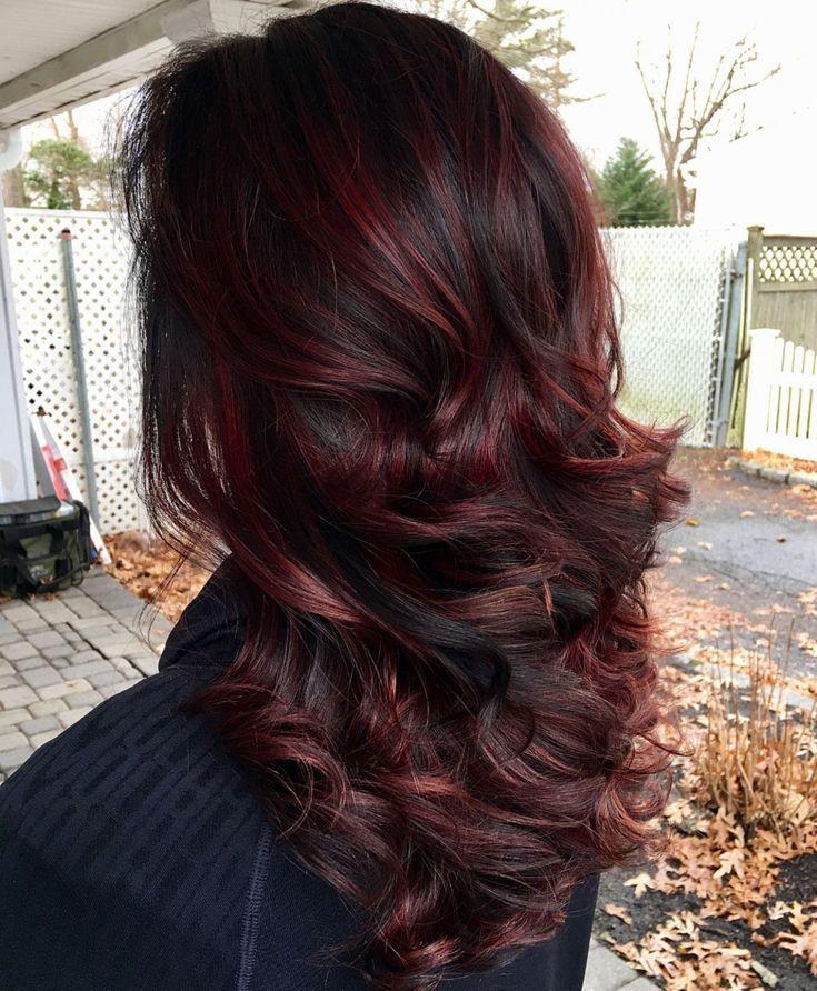 Chocolate cherry black hair with highlights
