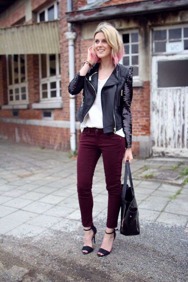 Burgundy pants outfit ideas, Leather jacket