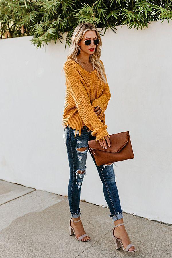 Never got before offer mustard sweater outfots