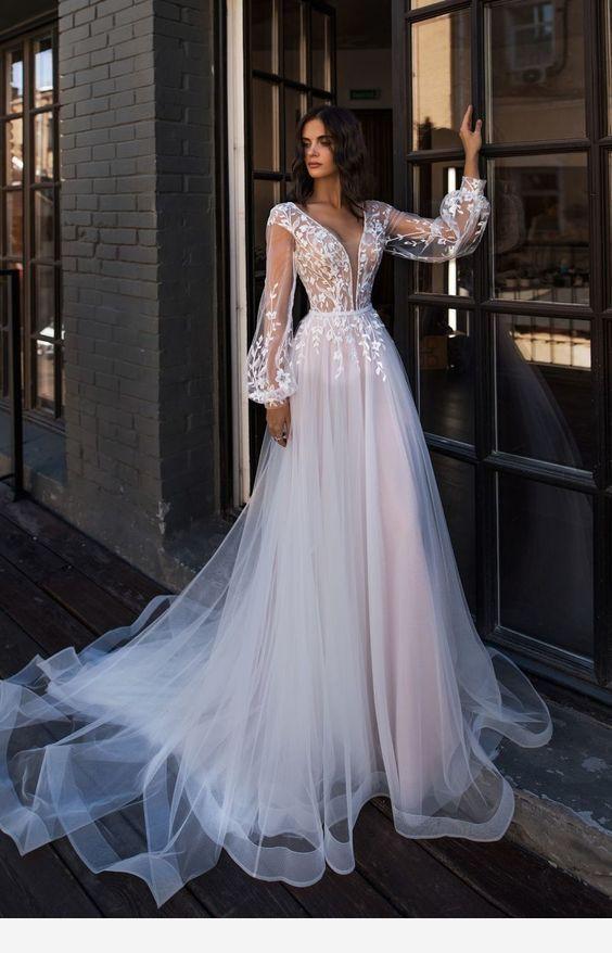 V neck long sleeve v neck boho wedding dress