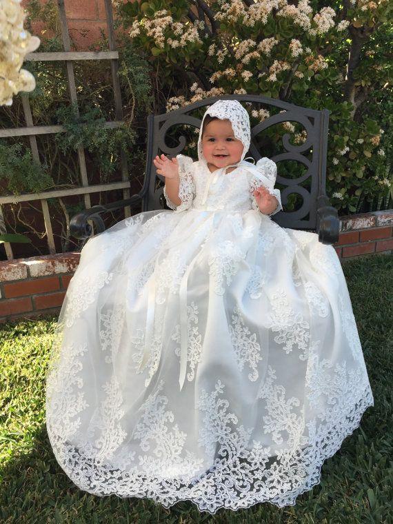 Outfit designs for long christening gowns, Alençon lace