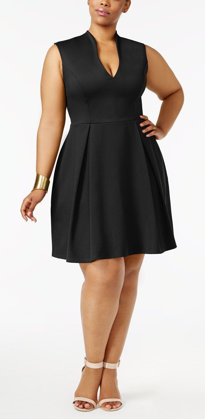 Soprano trendy plus size pleated fit flare dress