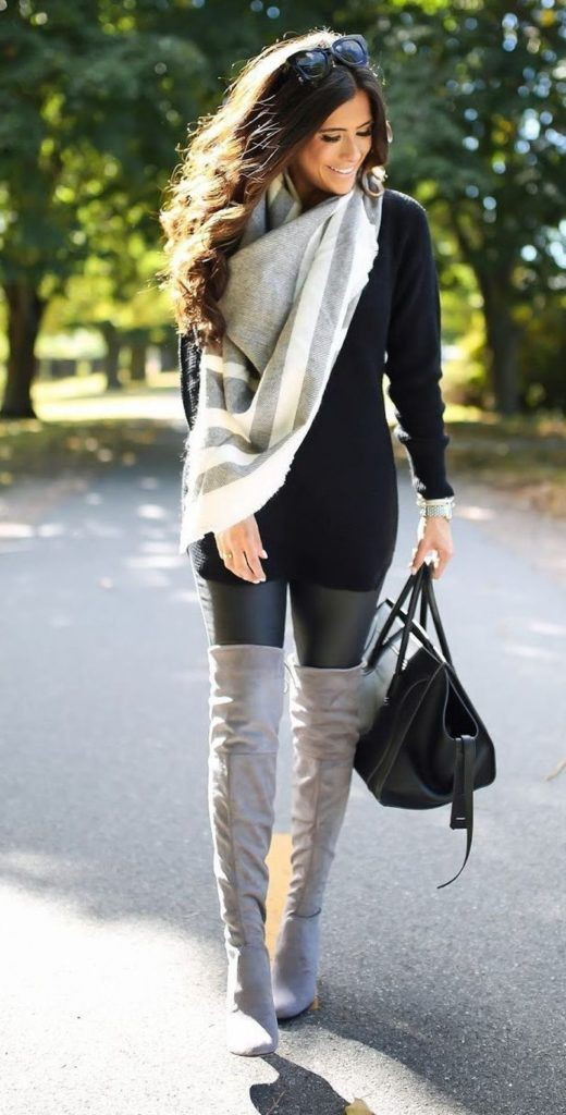 Leather leggings with boots, Over-the-knee boot