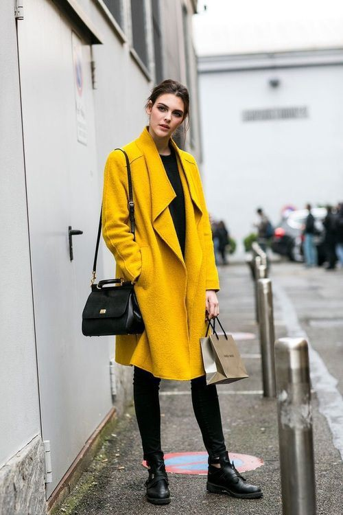 Attractive ideas for yellow coat, Street fashion