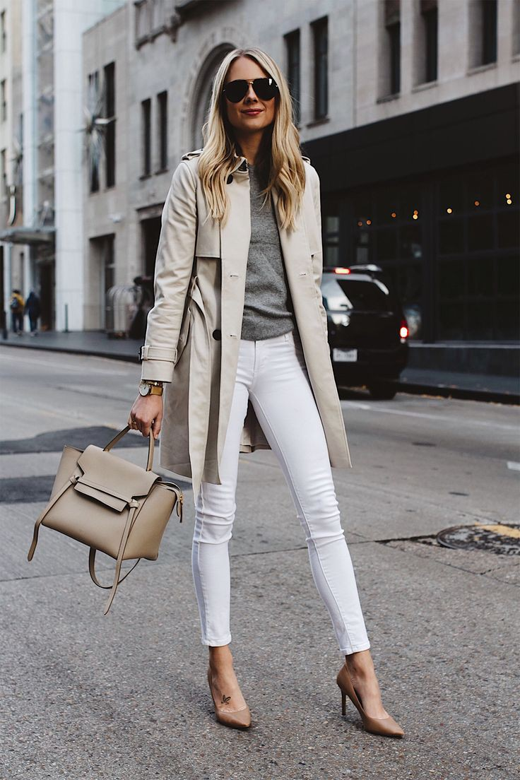 White jeans trench coat look