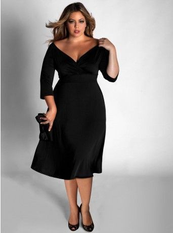Plus size black cocktail dress