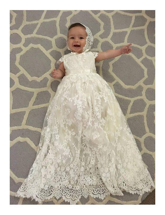 Long baptism dress baby, Baptismal clothing