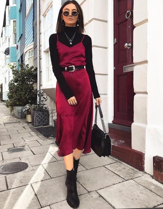Fashion of today! fashion model, Silk Slip Dress