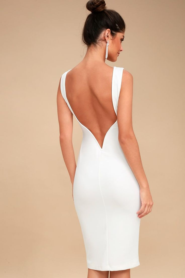 Lulus white backless midi dress
