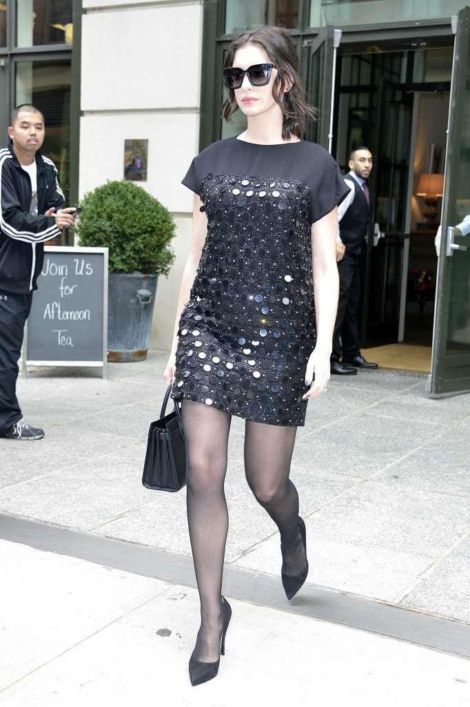 Elegant style 2019 celebrities in pantyhose, Little black dress
