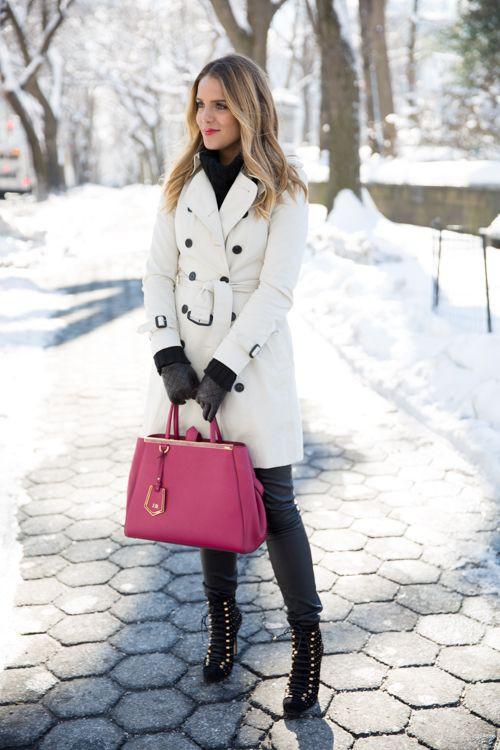 Wear white winter coat, White coat