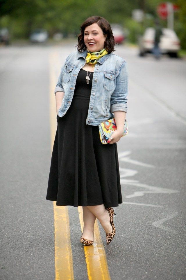 Black fit and flare dress with denim jacket