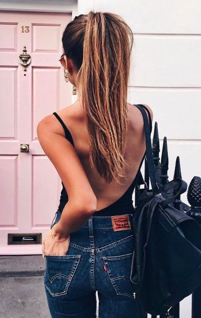 Jeans girl sexy back, Casual wear