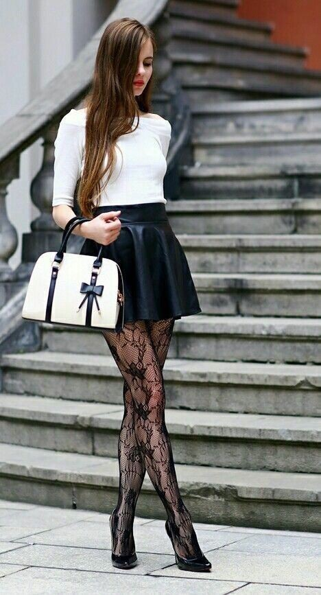 Cute dresses with stocking/black pantyhose