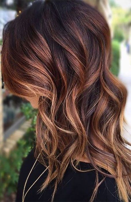 Brown hair with auburn and blonde highlights