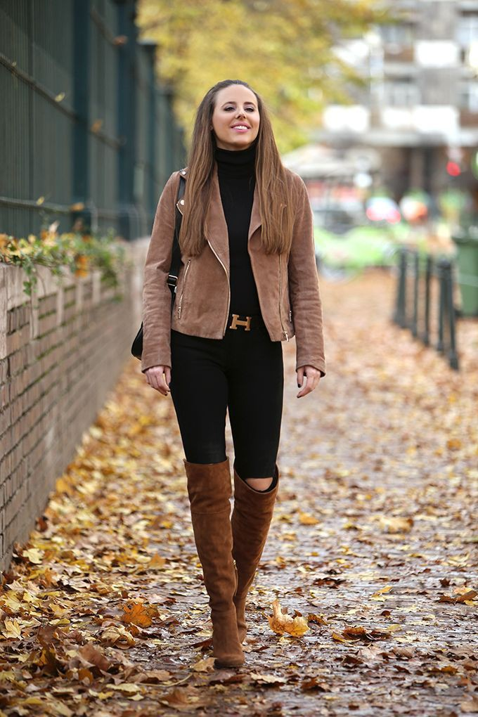 Long brown boots outfit, Knee-high boot