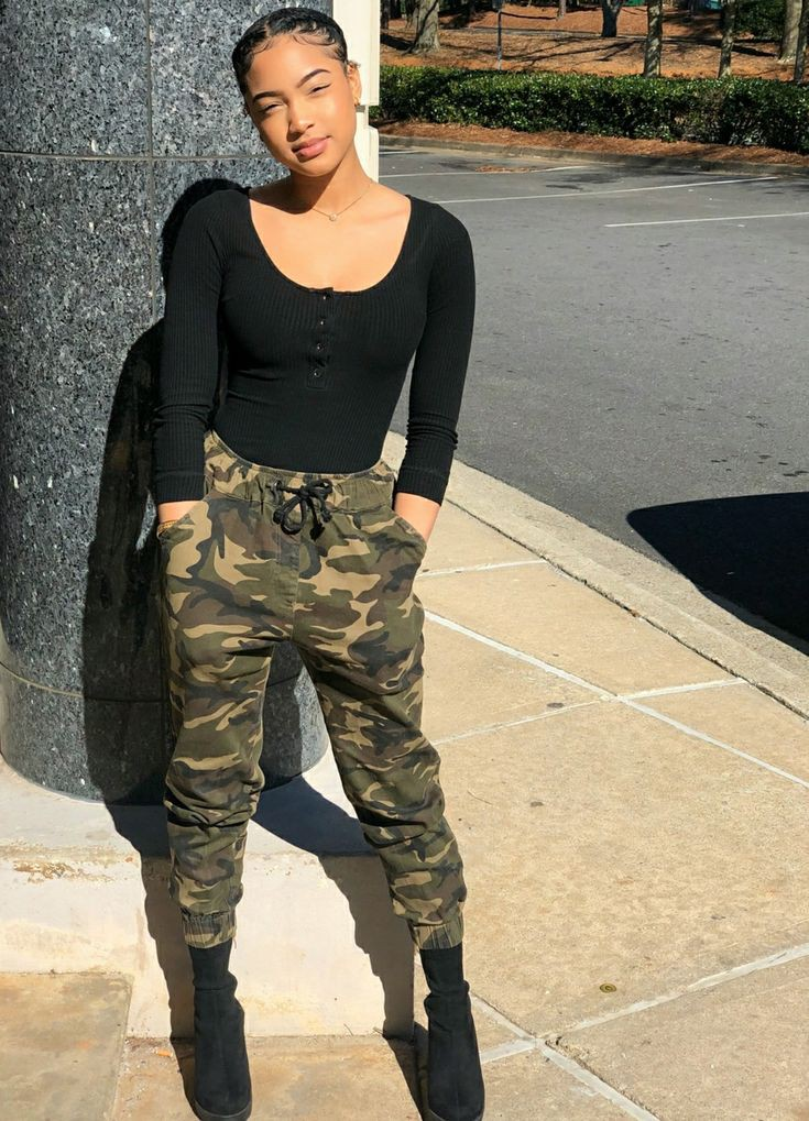 Camo Pants Outfit, YMI Jeans, Leather jacket