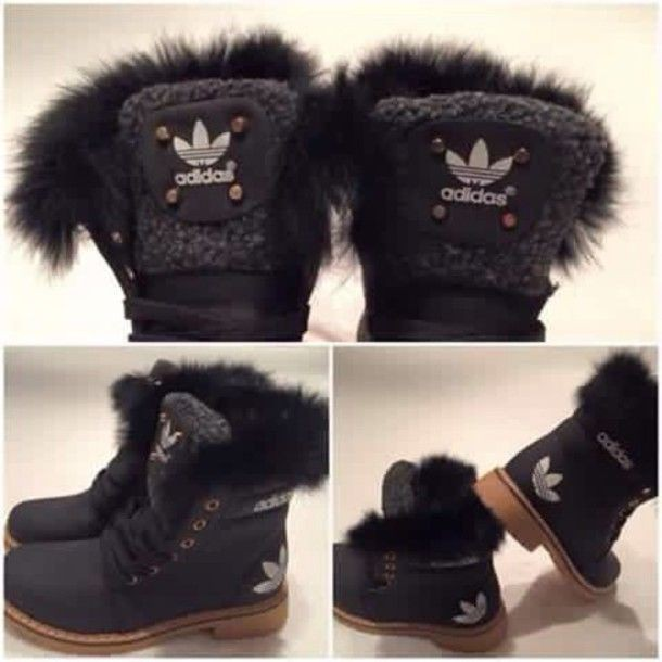 Kids adidas boots with fur