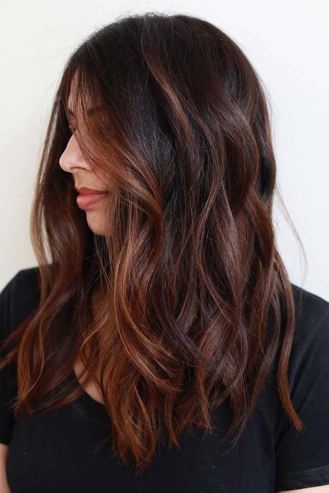 Auburn balayage on dark brown hair