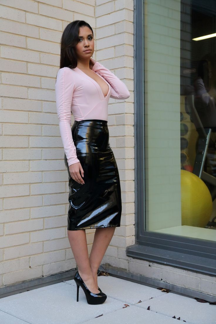 Black leather skirt outfit going out