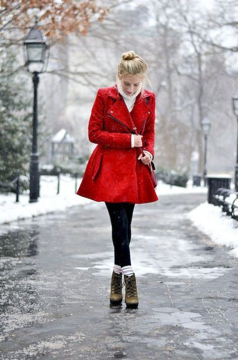 Red coat winter outfit, Winter clothing
