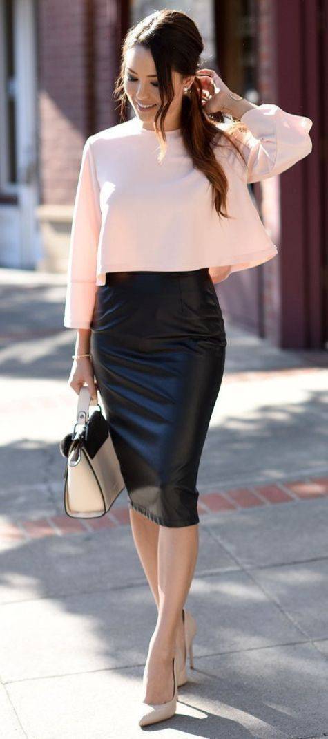 My stylish cool pencil leather skirt