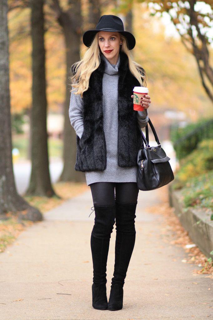 Black faux fur vest outfit