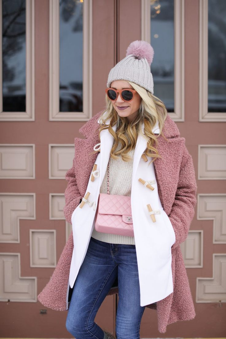 Pink coat winter outfit, Street fashion