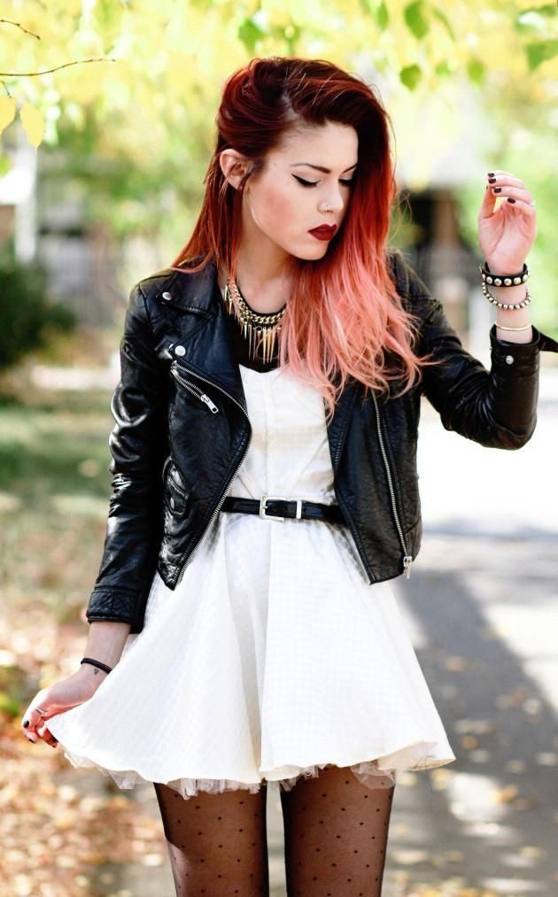 Get this look with punk white dress