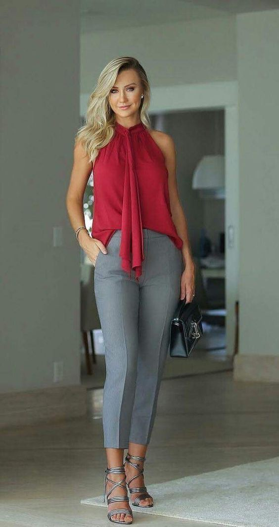 Red top and grey pants