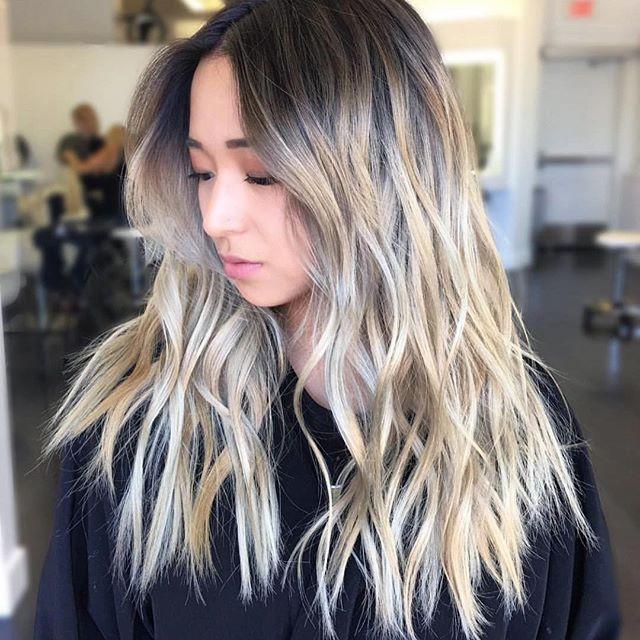 Blonde highlights on asian hair