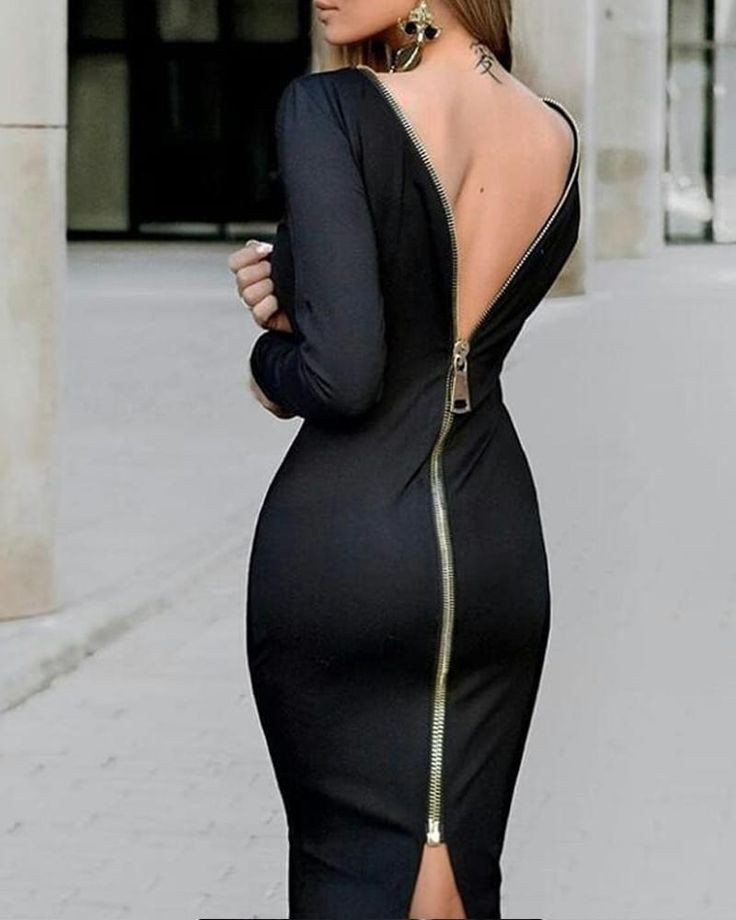Stylish black backless dress for ladies