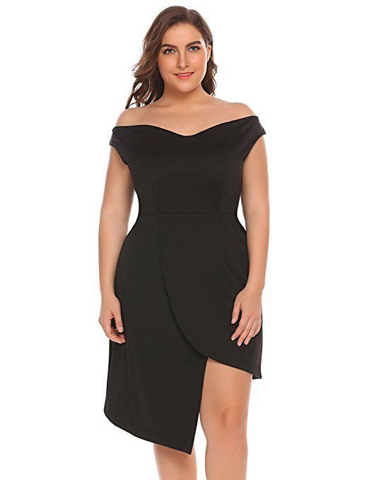 Little black dress off shoulder plus size