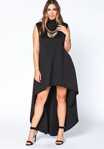 Plus size black dress outfit