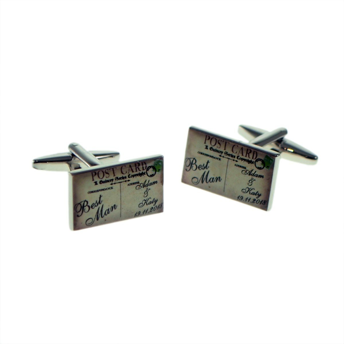 RETRO POST CARD STYLE PERSONALISED WEDDING CUFFLINKS £24.99