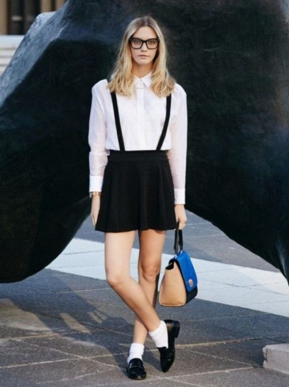 White shirt with suspenders and skirt