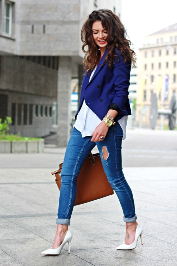 Jeans and blazers outfits, Casual wear