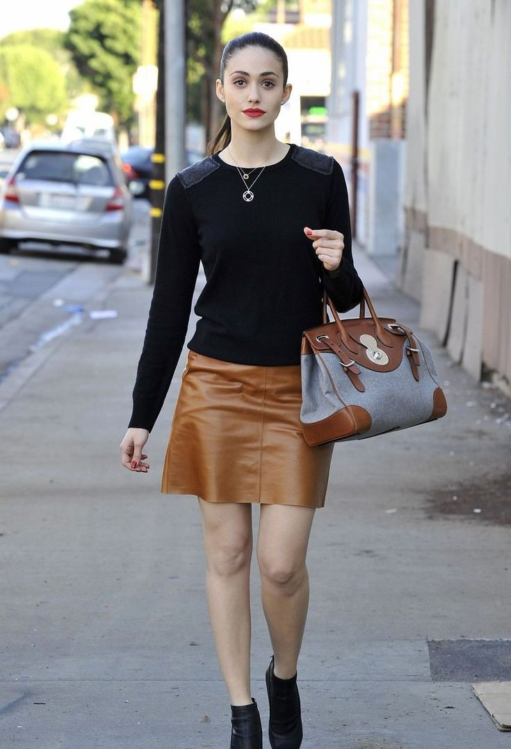 Summer brown leather skirt outfit