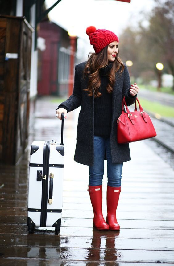 Winter outfits with rain boots