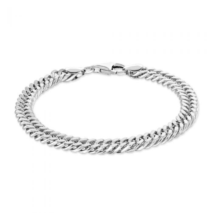 Sterling Silver 6.7mm Double Curb Bracelet Diamond Cut £58.00