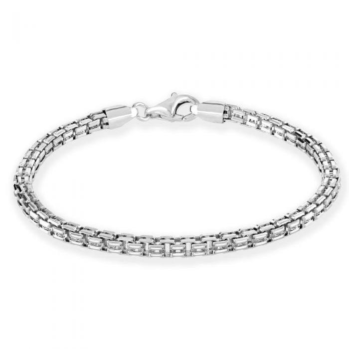 Sterling Silver 4mm Double Box Bracelet Diamond Cut £36.00