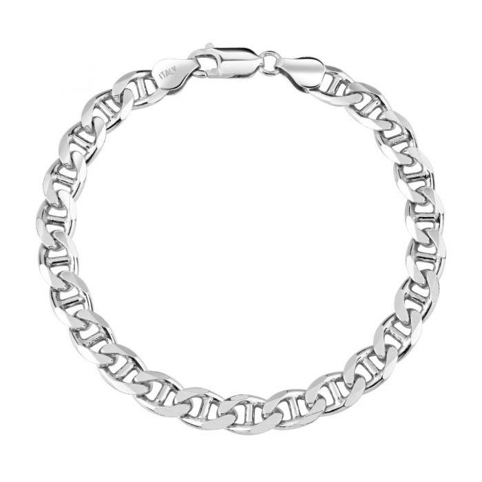 Sterling Silver 6.9mm Diamond Cut Marina Link Bracelet
